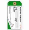 "REPAIRABLE/REWORK, 4.75"" x 2.375"", White/White on Dark Green Paper,3-Ply, Plain, Box of 500"