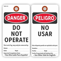 "DANGER/PELIGRO, Do Not Operate/No Usar, English/Spanish, 5.75"" x 3"", White Paper,2 Sided, Plain, Pack of 100"