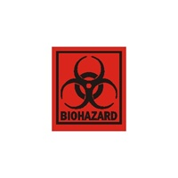"Biohazard, 2"" x 1-3/4"", Paper, Roll of 500"