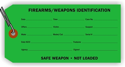 """Firearms/Weapons Identification"", 3.125 x 6.25 in., 13Pt Dark Green paper, Wired, 100 per shrink pack"