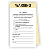 "WARNING, 2-Part Carbonless, with Numbers -6.25"" X 3.75"""