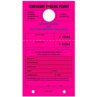 TEMPORARY PARKING PERMIT - Mirror Hang Tag numbered and with Tear-off Stub.  Fluorescent Pink, 50/Pack