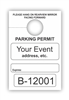 TEMPORARY PARKING PERMIT W/Custom Imprint  of Name/Address - Mirror Hang Tag numbered.  White, 250/Pack