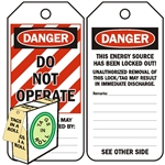 "<!010>DANGER, Do Not Operate, 6-1/4"" x 3"", White Polypropylene, In-a-Box of 100"