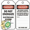 "<!010>DANGER, Do Not Energize, Electricians at Work, 6-1/4"" x 3"", White Polypropylene, In-a-Box of 100"