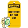 "<!0120>Warning Defective Do Not Use,  6-1/4"" x 3"", Fluorescent Orange, In-a-Box of 100"