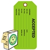 "<!0120>ACCEPTED,  6-1/4"" x 3"", Dk. Green, In-a-Box of 100"