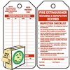 "<!0120>Fire Extinguisher Recharge & Inspection Record,  6-1/4"" x 3"", White Polypropylene, In-a-Box of 100"