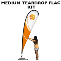 Medium (11') Teardrop Flag - Full Fiberglass Pole