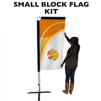 Small (7') Rectangle Flag - Full Fiberglass Pole