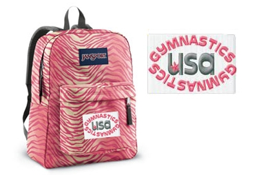Gymnastics USA Pink Zebra Print JanSport embroidered backpack