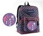 Gymnastics small triangle purple and pink Jansport embroidered book bag