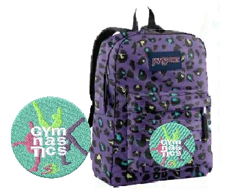 Gymnastics 3 gymnast Cheetah print JanSport embroidered backpack 9cee22bf73ca0
