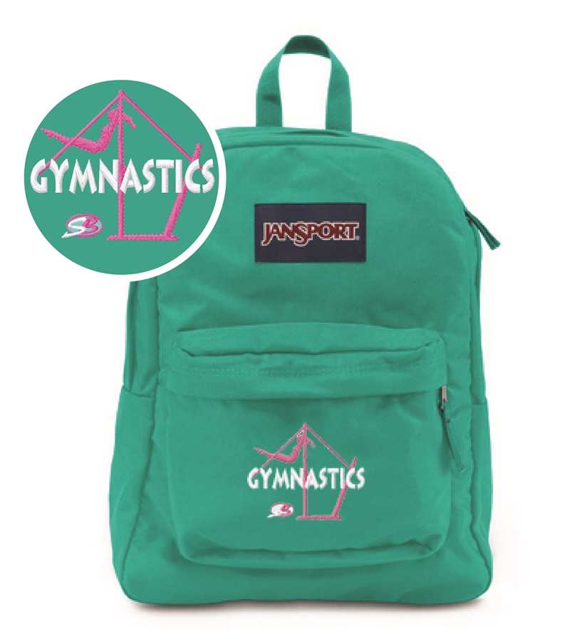 d653cd502004 Gymnastics Bars small teal Jansport embroidered book bag