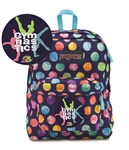 Water Color Dots 3 gymnast Jansport embroidered book bag