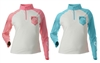 DSG Plus Size Fishing 1/4 Zip Shirt - UPF 50 - Realtree Salmon/ Aqua