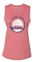 DSG Lake Life Plus Size Muscle Tee - Smoked Paprika, White, Antique Denim
