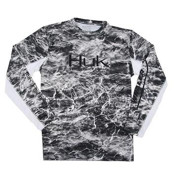HUK Elements Icon L/S Tee - Manta Grey