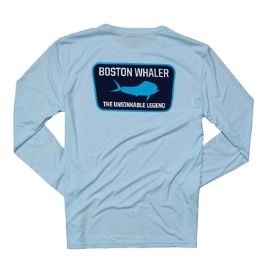 Mahi Emblem LS Performance Tee - Ice Blue