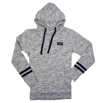 Ladies Melange Striped Hoodie - White / Navy