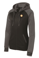 Womens Varsity Fleece Full-Zip Hooded Jacket - Grey