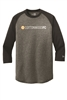 Mens Blended 3/4 Sleeve Raglan - Black/Black Twist