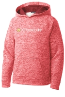 Youth Electric Heather Fleece Hooded Pullover - Red