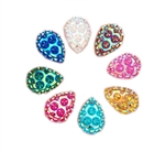 "Teardrop Gems, 3/4"", Mixed Colors, 20 pcs."