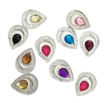 "Double Teardrop Gems, 3/4"", Mixed Colors, 20 pcs."