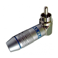 RCA Plug, Right Angle, Metal Connector for 6MM Cable, Blue ID Band | Calrad Electronics 30-250-BU