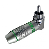 RCA Plug, Right Angle, Metal Connector for 6MM Cable, Green ID Band | Calrad Electronics 30-250-GN