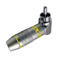 RCA Plug, Right Angle, Metal Connector for 6MM Cable, Yellow ID Band | Calrad Electronics 30-250-YL