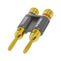 Calrad 30-604-RD Dual Banana Plug Metal Gold Red