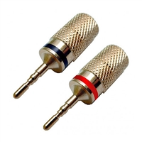 Pin Plugs, Solderless, up to 8 Gauge Wire, 2 Black & 2 Red | Calrad Electronics 30-606-2PR