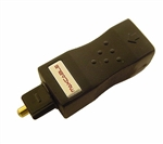 Calrad 35-443<br>Fiber-optic toslink male to 3.5mm female. Bi-directional signal path.