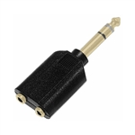 "Calrad 35-554G Shielded Y 1/4"" Stereo Plug to Dual Gold 3.5mm Stereo Jacks"