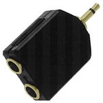 "Calrad 35-584G Gold Dual 1/4"" Jacks to 3.5mm Mono Plug"