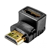 Calrad 35-714A<br>HDMI Female to Male right angle adapter. Down 270° Gold contacts.