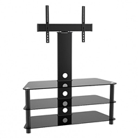 "47-200 Calrad Electronics | Elegant Stand with TV Mount & 3 Glass Shelves, Fits 37""- 65"" 