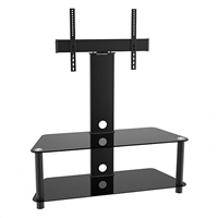 "47-201 Calrad Electronics | Elegant Stand with TV Mount & 2 Glass Shelves, Fits 37""- 65"" 