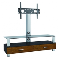 "47-210 Calrad Electronics | Elegant Stand with TV Mount & 1 Wood, 1 Glass Shelve, Fits 37"" - 65"""