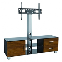 "47-212 Calrad Electronics | Elegant TV Furniture Stand with Mount, Wood Drawers, Cabinet & 3 Glass Shelves, Fits 37""-65"""