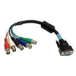 Calrad Electronics 55-620-6 HDTV DB15HD Female to 5 BNC Females RGB/HV Cable 6 ft. long