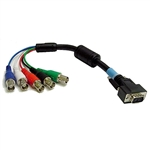 Calrad Electronics 55-621 Shielded HDTV DB15HD Male to 5 BNC Females RGB/HV Cable 6 inches long
