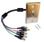 Calrad 55-622 HDTV DB15HD Female to 5 BNC Females RGB/HV 1 ft. Cable Mounted in a Stainless Steel Wall Plate