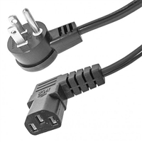 Computer Power Cable, Right Angle 3 Prong Male to Right Angle IEC Female, AC, 18AWG, 3 ft. Long | 55-782RT-RT-3 Calrad Electronics