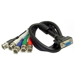 Calrad 55-866F-12 HDTV Shielded Video/Computer Cable DB15HD Female to 5 BNC Males cable 12 ft. long