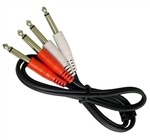 "Calrad Electronics 55-974-10 Shielded Audio Cable w/ Dual 1/4"" Mono Plugs Each End 10' Long"