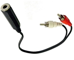"Calrad 55-997 ""Y"" Adapter Cable w/ 1/4"" Stereo Jack to Dual RCA  Plugs"