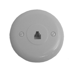 Calrad 70-411-W<br>Round Modular Wall Jack 4 Wire Screw Terminals White